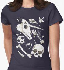 black Skulls and Bones - Wunderkammer Women's Fitted T-Shirt