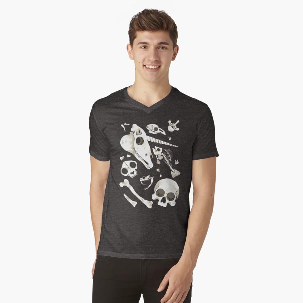 black Skulls and Bones - Wunderkammer V-Neck T-Shirt