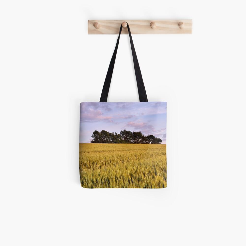 Wheat field at dusk Tote Bag