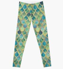 Mermaid Scales (green & gold) Leggings