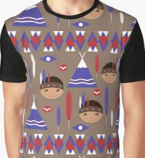 Seamless kids cute American indian native retro background pattern Graphic T-Shirt