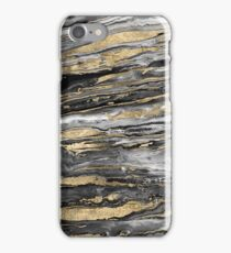 Stylish gold abstract marbleized paint iPhone Case/Skin