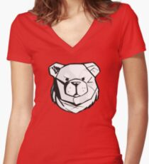 Robust bear logo black and red Women's Fitted V-Neck T-Shirt