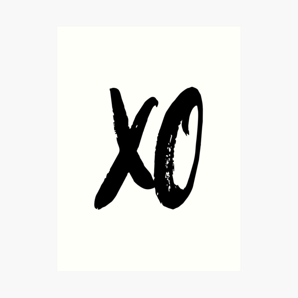 XO Hugs and kisses black and white scandinavian Art Print