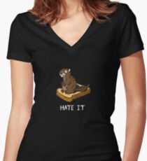 Hate It, Marmot on Toast (white text variant) Women's Fitted V-Neck T-Shirt