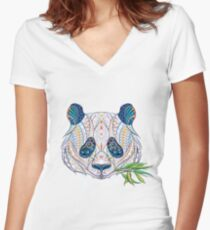 Ethnic Highly Detailed Panda Women's Fitted V-Neck T-Shirt