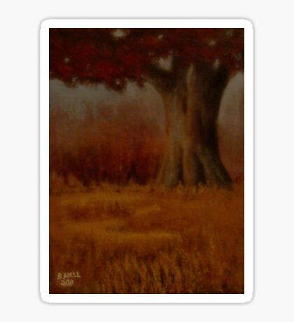 """""""... DOWN BY THE BIG OAK TREE, AT SUNDAY!,"""" Pastel Painting, for prints and products Sticker"""