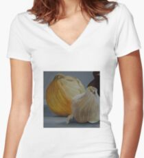 Garlic and Onions Women's Fitted V-Neck T-Shirt