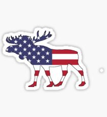American Flag – Moose Sticker