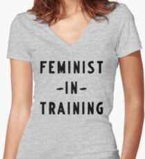 Feminist in training Women's Fitted V-Neck T-Shirt
