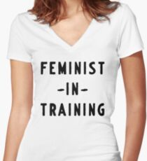 Feminist in training Women's Fitted V-Neck T-Shirt