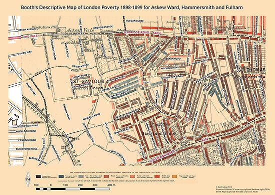 Booth 39 S Map Of London Poverty For Askew Ward Hammersmith Amp
