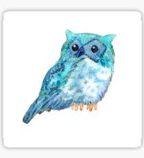 Sweet watercolor owl. Funny blue bird. Sticker