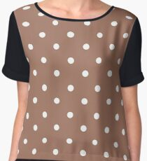 Polka dots, modern,trendy,pattern,brown,white,cute,girly Chiffon Top