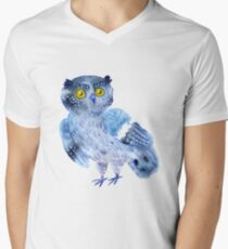 Sweet watercolor owl. Funny blue bird. T-Shirt