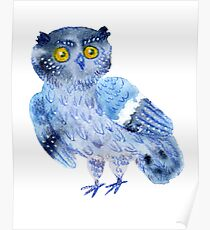 Sweet watercolor owl. Funny blue bird. Poster
