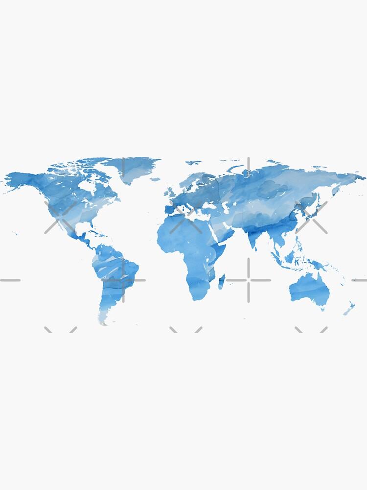 Mapa del mundo | Acuarela azul | Trotamundos de koovox
