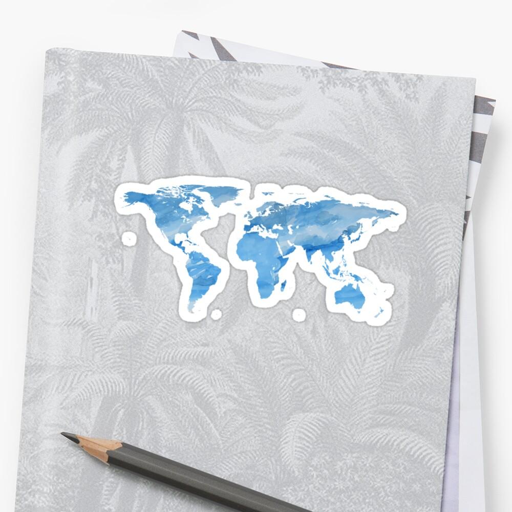 Mapa del mundo | Acuarela azul | Trotamundos Pegatinas