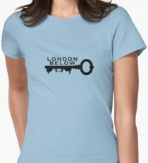 London Below Logo - Noir T-shirt col V femme