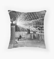 Nikola Tesla with his equipment (June 17, 1901) Throw Pillow