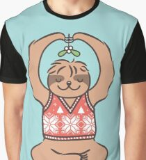 Christmas Kiss Sloth with Mistletoe Graphic T-Shirt
