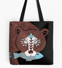 Folk Art Spirit Bear with Fish Tote Bag