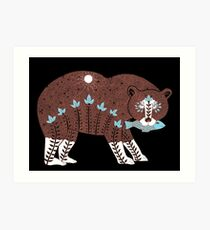 Folk Art Spirit Bear with Fish Art Print
