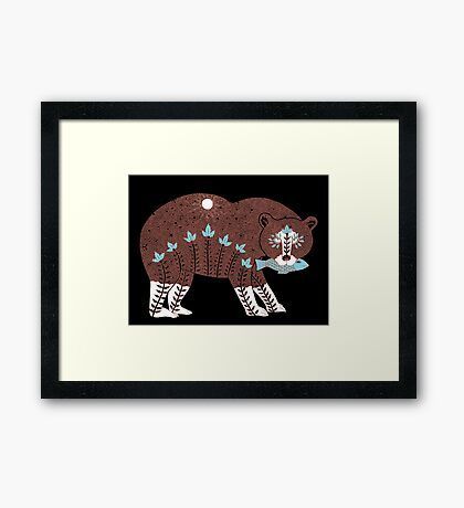 Folk Art Spirit Bear with Fish Framed Print