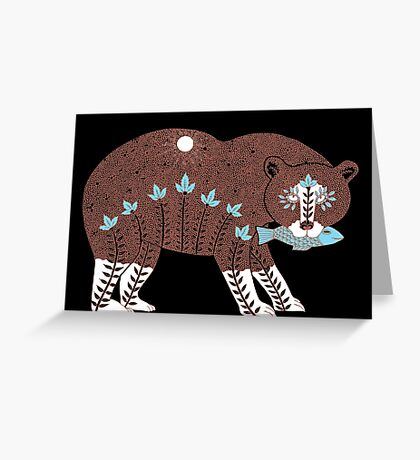 Folk Art Spirit Bear with Fish Greeting Card