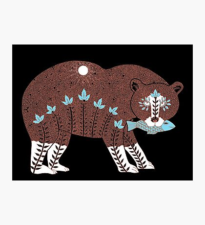Folk Art Spirit Bear with Fish Photographic Print