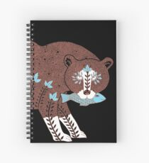Folk Art Spirit Bear with Fish Spiral Notebook