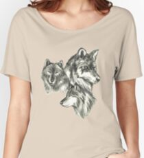 Three Wolf Sketches Women's Relaxed Fit T-Shirt