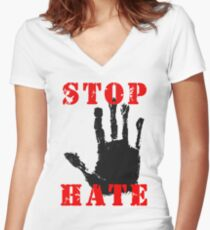Stop the Hate Women's Fitted V-Neck T-Shirt