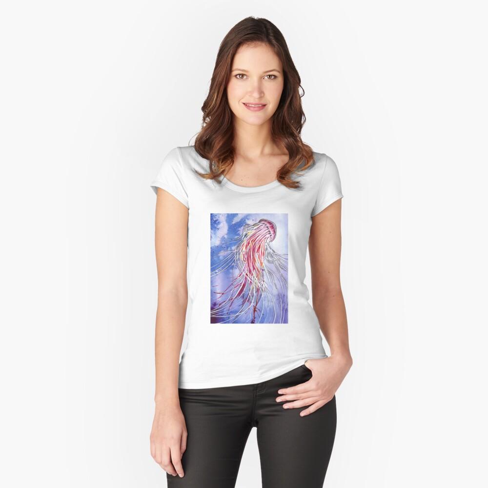 Medusa-Quallen Tailliertes Rundhals-Shirt