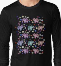 Elephants and Flowers on Black T-Shirt
