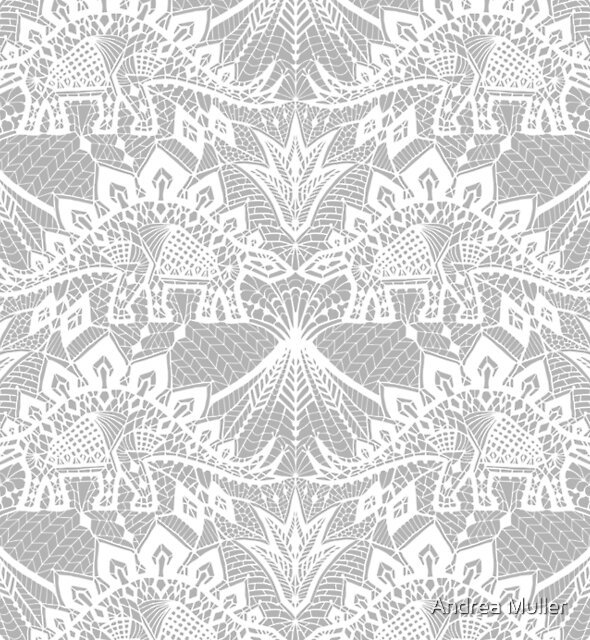 Stegosaurus Lace - White by Andrea Muller