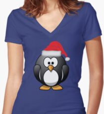 Christmas Penguin Shirt Women's Fitted V-Neck T-Shirt