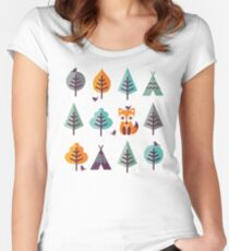 Fox in the Forest - on Gray Women's Fitted Scoop T-Shirt