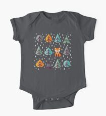 Fox in the Forest - on Gray One Piece - Short Sleeve