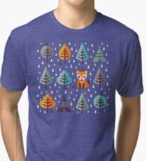Fox in the Forest - on Gray Tri-blend T-Shirt