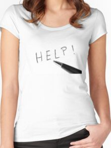 Pen Help Black White Women's Fitted Scoop T-Shirt