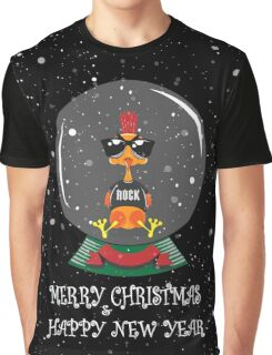 Christmas Rooster Graphic T-Shirt
