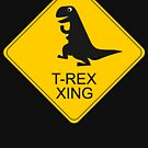 T-rex crossing road sign by Eli Avellanoza