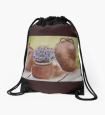 Trio of French Terraccotta Pots with Lavender Drawstring Bag