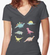 Dinosaur Pattern Women's Fitted V-Neck T-Shirt