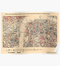 Booth's Map of London Poverty for Bishop's ward, Westminster Poster