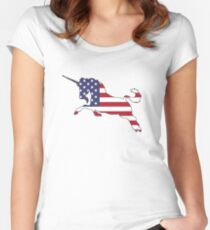 American Flag – Unicorn Women's Fitted Scoop T-Shirt