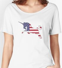 American Flag – Unicorn Women's Relaxed Fit T-Shirt