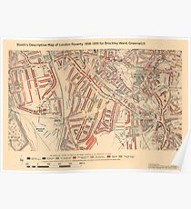 Booth's Map of London Poverty for Brockley Ward, Greenwich Poster