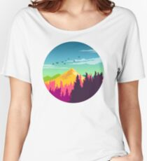 Colorful Nature Landscape : Mountain and Forest Scene with Happy Birds Women's Relaxed Fit T-Shirt